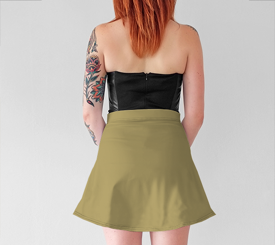 AK02-015-AJ:  Flared Skirt | Simply Solids™ - AggieLand Light Olive
