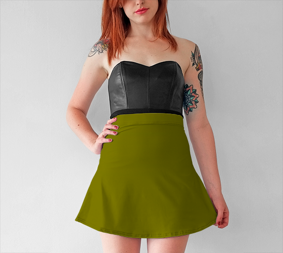 AK02-015-AG:  Flared Skirt | Simply Solids™ - AggieLand Pond Green