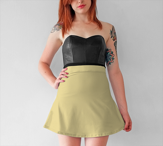 AK02-015-AC:  Flared Skirt | Simply Solids™ - AggieLand Soft Yellow