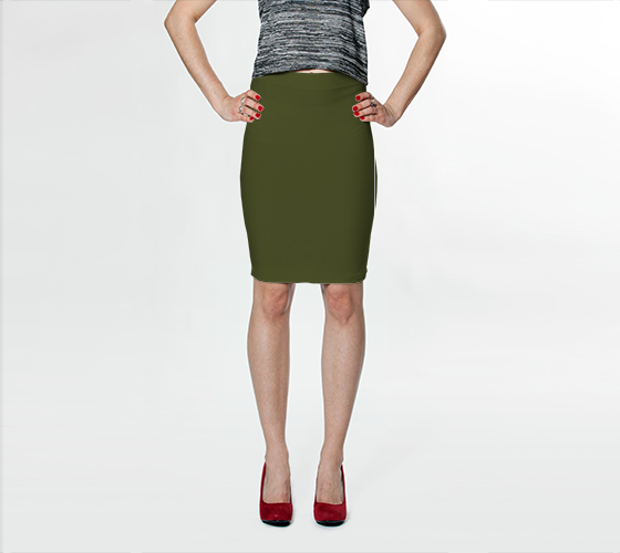 AK02-015-AK:  Fitted Skirt | Simply Solids™ - AggieLand Army Green