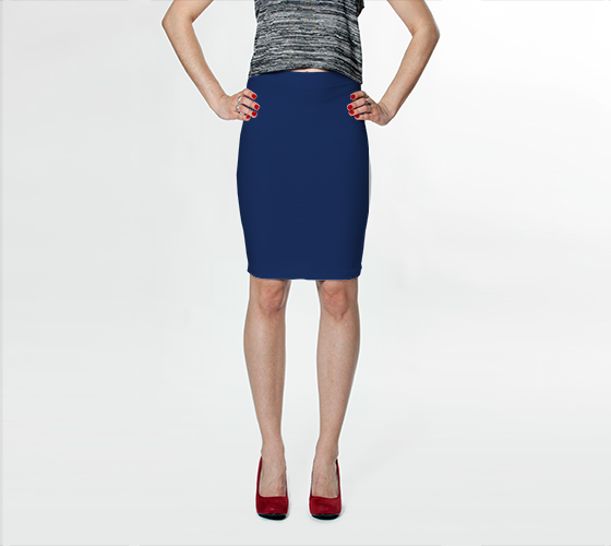 AK02-015-AJ:  Fitted Skirt | Simply Solids™ - AggieLand Blue