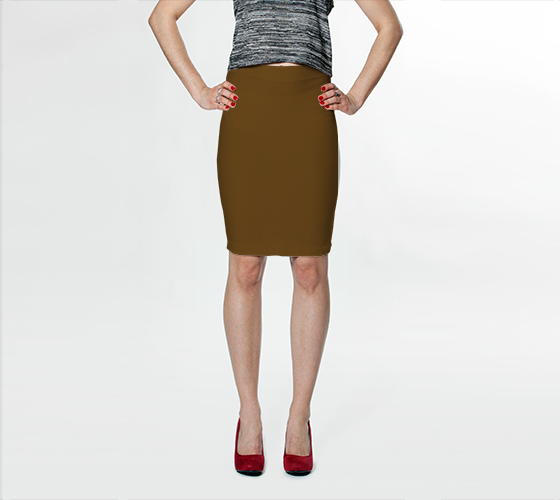 AK02-015-AI:  Fitted Skirt | Simply Solids™ - AggieLand Cocoa
