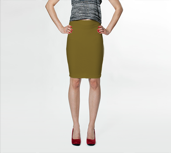 AK02-015-AH:  Fitted Skirt | Simply Solids™ - AggieLand Dark Olive