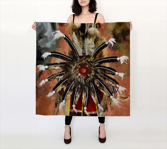 "BE10-0001 | Silk Scarf 36"" - Tail of the Sioux 1A"