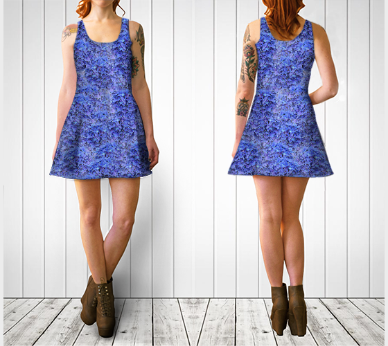 Flare Dress | Blue Hydrangeas Nbr 1 [BE25-006-001]