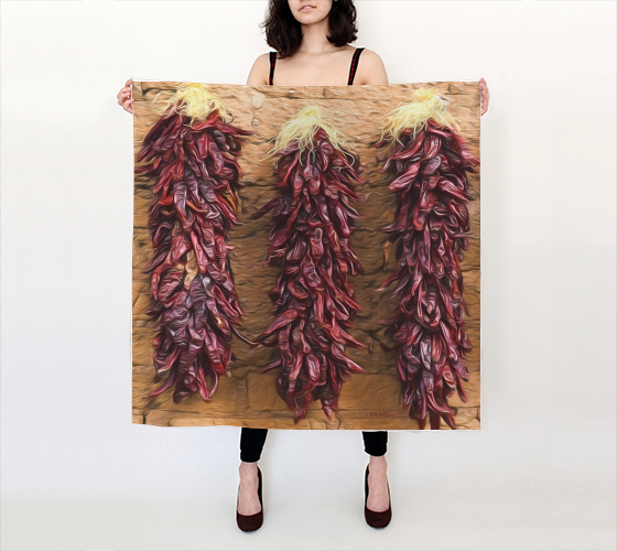 "Silk Scarf 36""x36"" • Peppers in Ensenada #2A<br>SKU:  BE30-003"