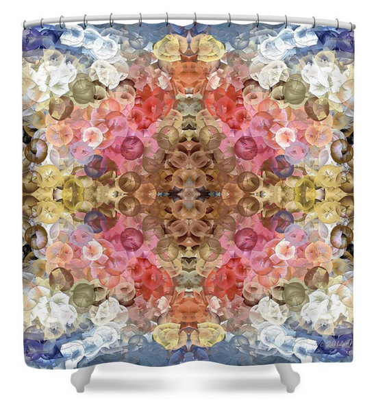 Designer Shower Curtain • Fish Flowers 1L<br>SKU:  AF24-001