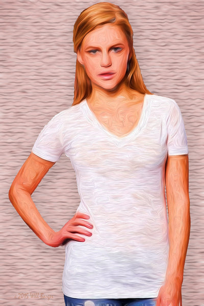 Catalog Image - Ladies' BurnOut V-Neck Shirts - Semi-Sheer - Greys - SKU: AI07-007