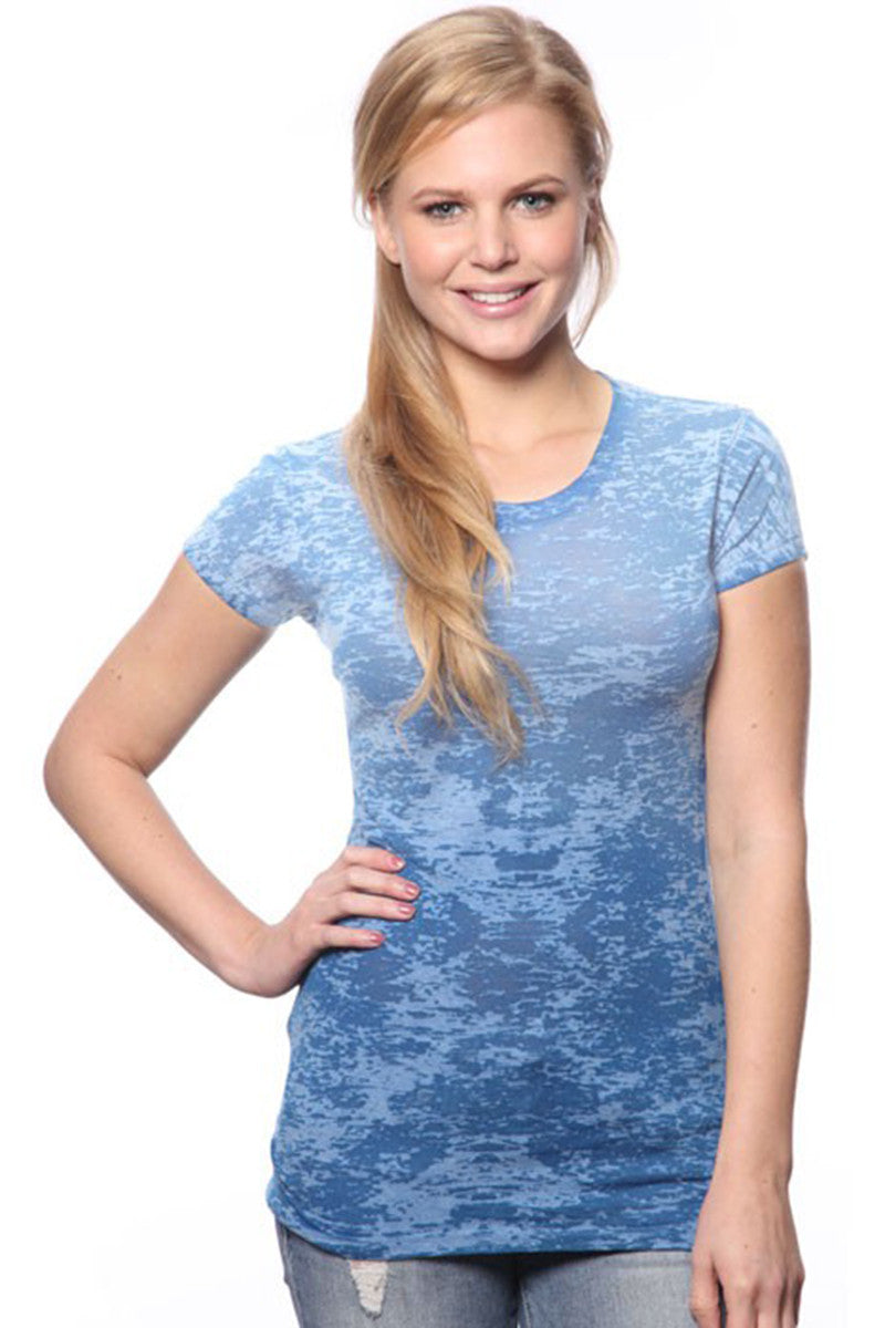 Product Image - Ladies' Laser BurnOut/Dip-Dyed Tops - Royal Blue - SKU: AI07-001