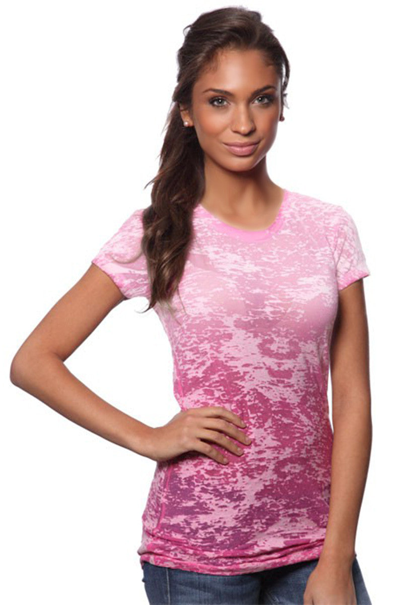 Product Image - Ladies' Laser BurnOut/Dip-Dyed Tops - Fuschia - SKU: AI07-001