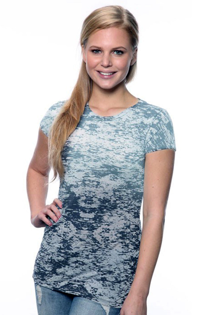 Product Image - Ladies' Laser BurnOut/Dip-Dyed Tops - BurnOut Navy - SKU: AI07-001