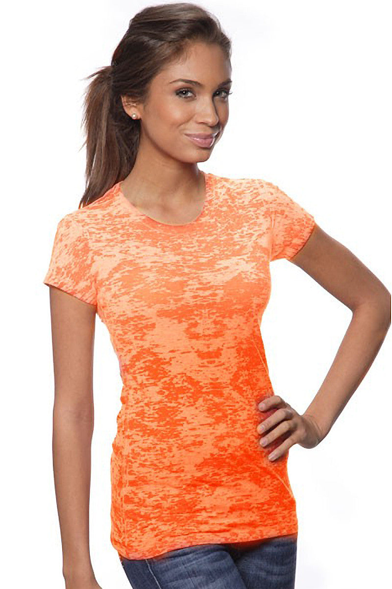 Product Image - Ladies' Laser BurnOut/Dip-Dyed Tops - Orange - SKU: AI07-001