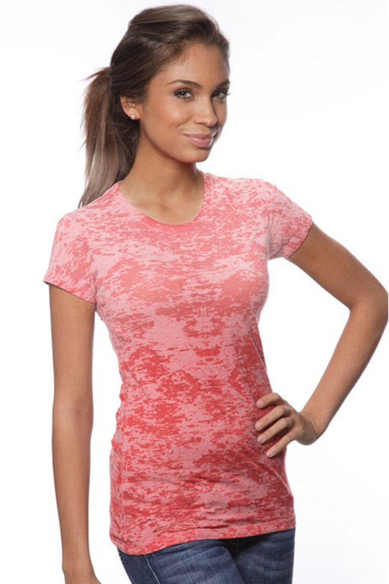 Product Image - Ladies' Laser BurnOut/Dip-Dyed Tops - Red - SKU: AI07-001