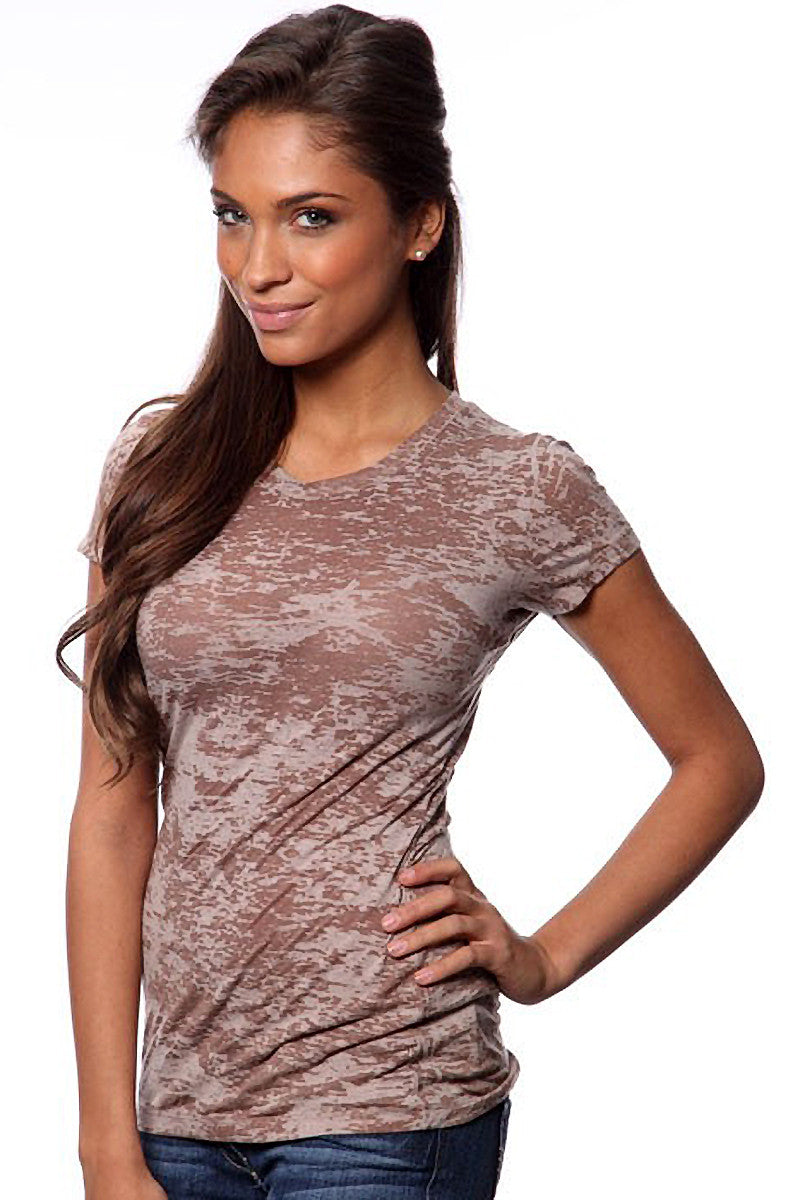 Product Image - Women's BurnOut T-Shirts - Semi-Sheer - Chocolate - SKU: AI07-009