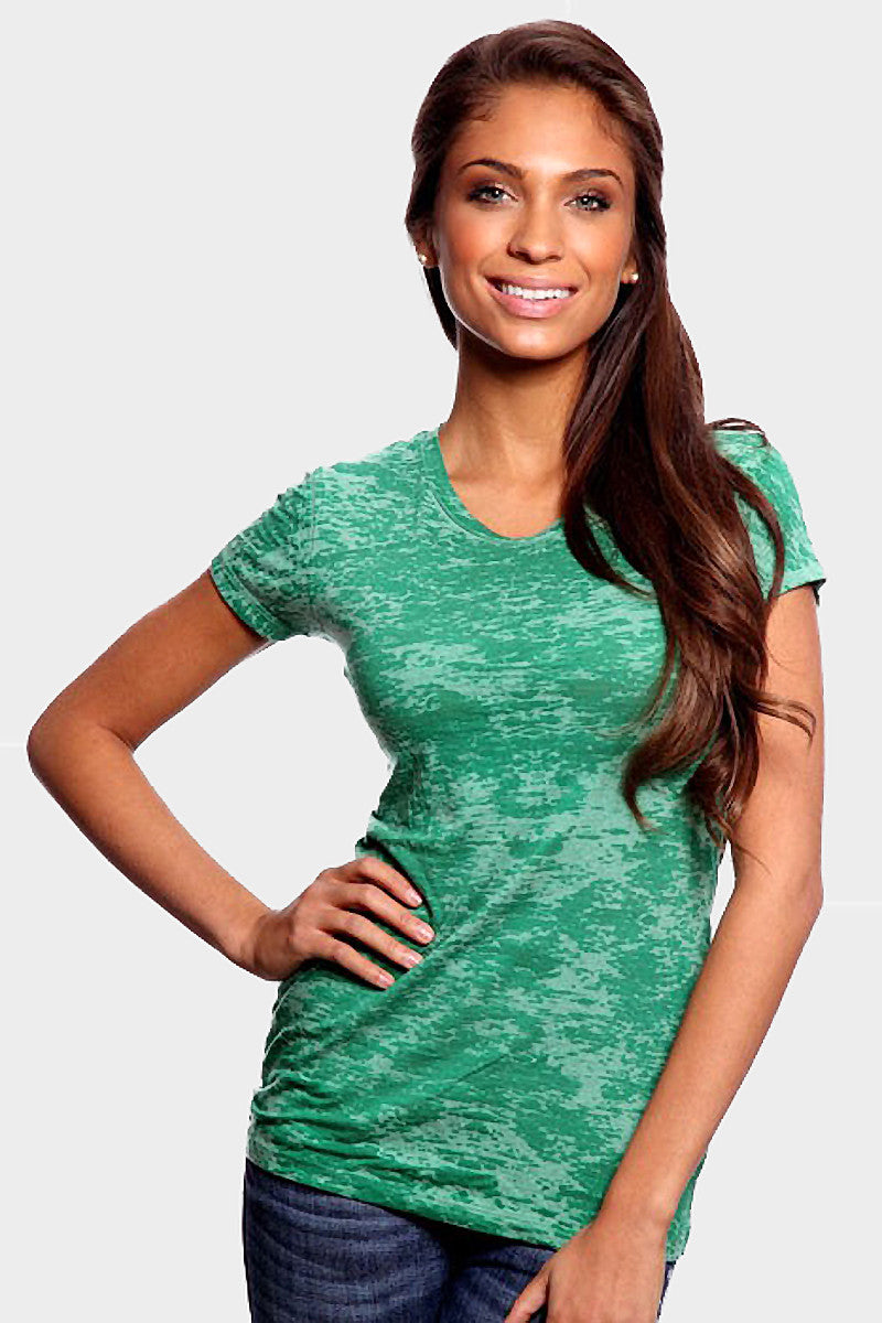 Product Image - Women's BurnOut T-Shirts - Semi-Sheer - Green - SKU: AI07-009