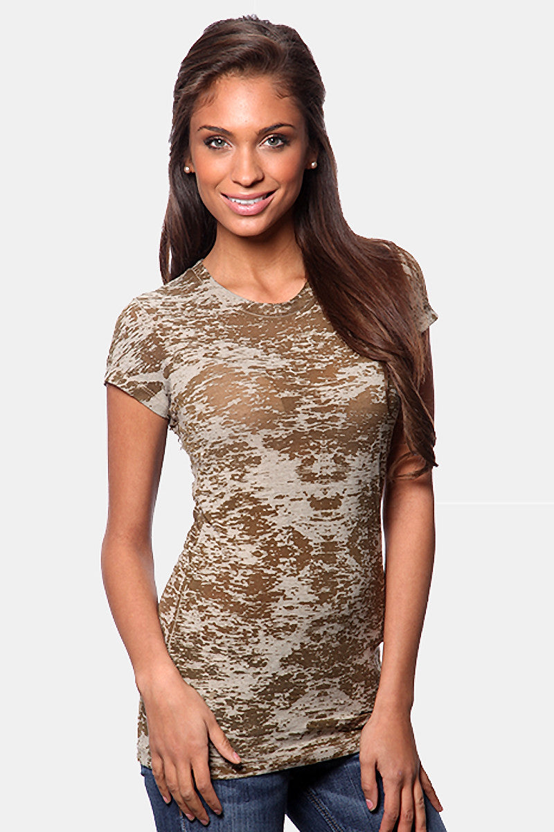 Product Image - Women's BurnOut T-Shirts - Semi-Sheer - Military Green - SKU: AI07-009