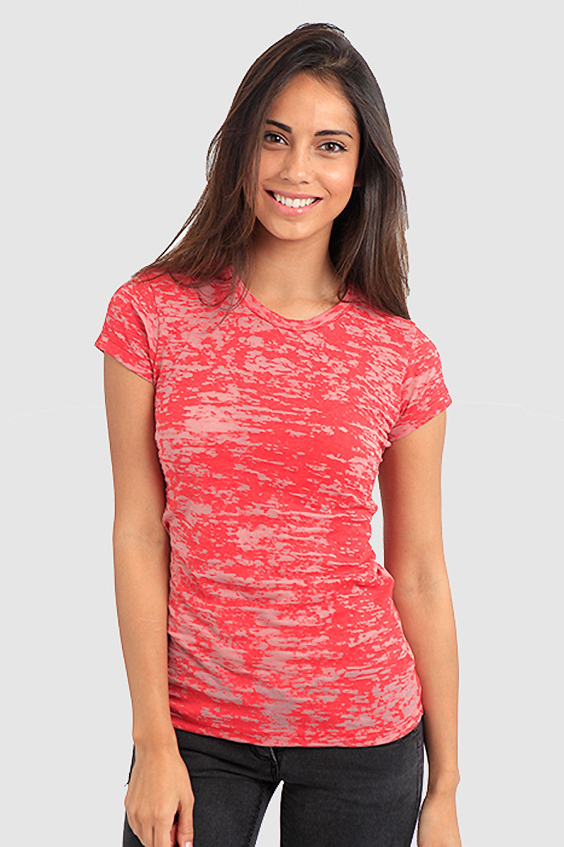 Product Image - Women's BurnOut T-Shirts - Semi-Sheer - Red - SKU: AI07-009