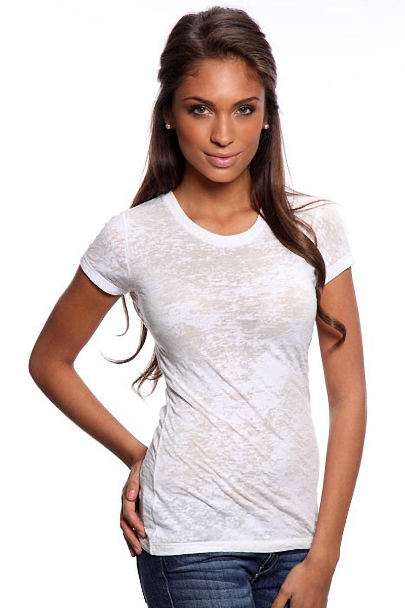 Product Image - Women's BurnOut T-Shirts - Semi-Sheer - White - SKU: AI07-009