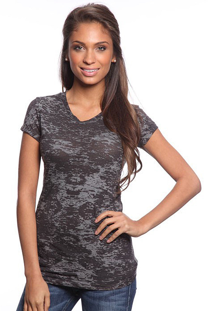 Product Image - Ladies' BurnOut V-Neck Shirts - Semi-Sheer - Charcoal - SKU: AI07-007