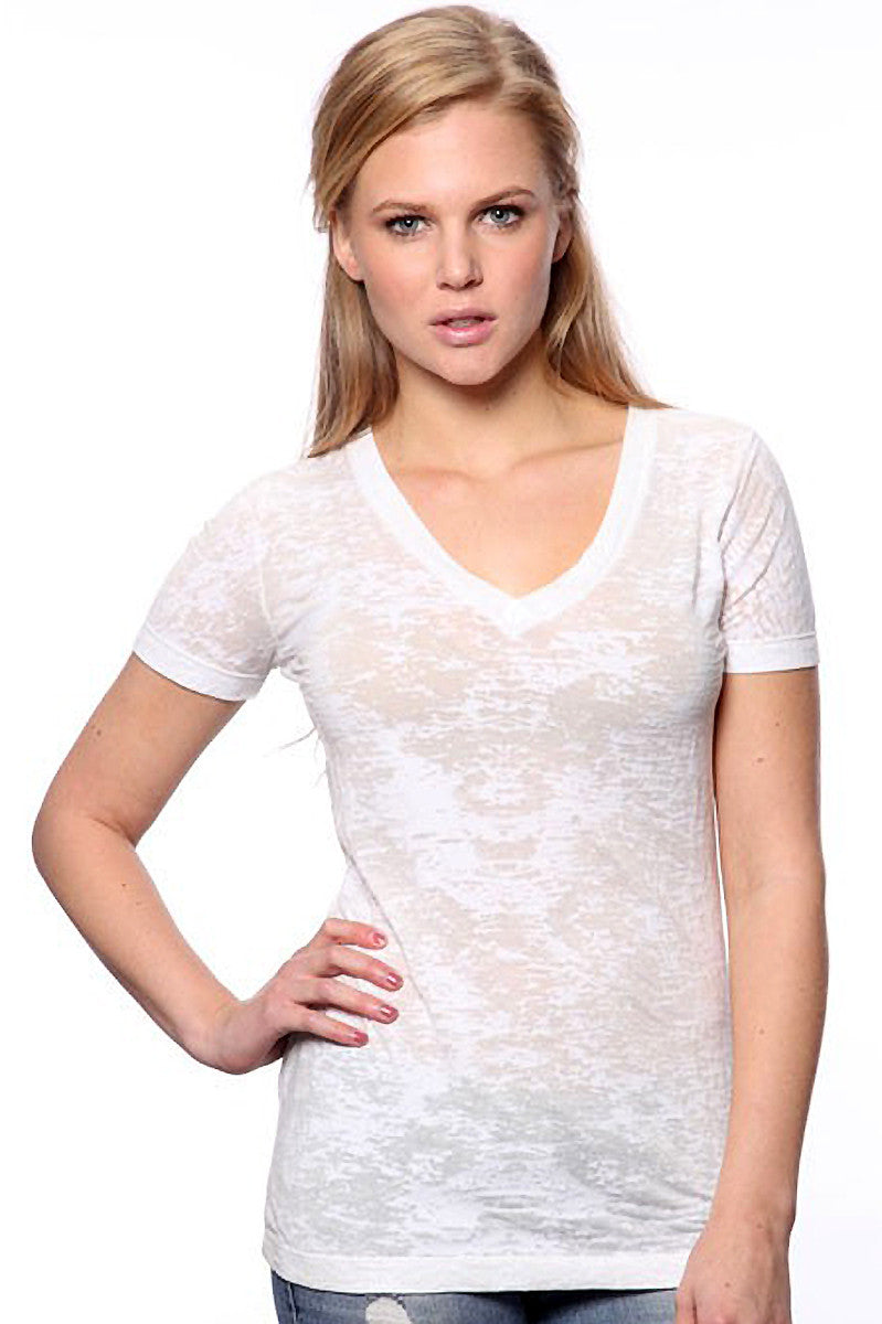 Product Image - Ladies' BurnOut V-Neck Shirts - Semi-Sheer - White - SKU: AI07-007