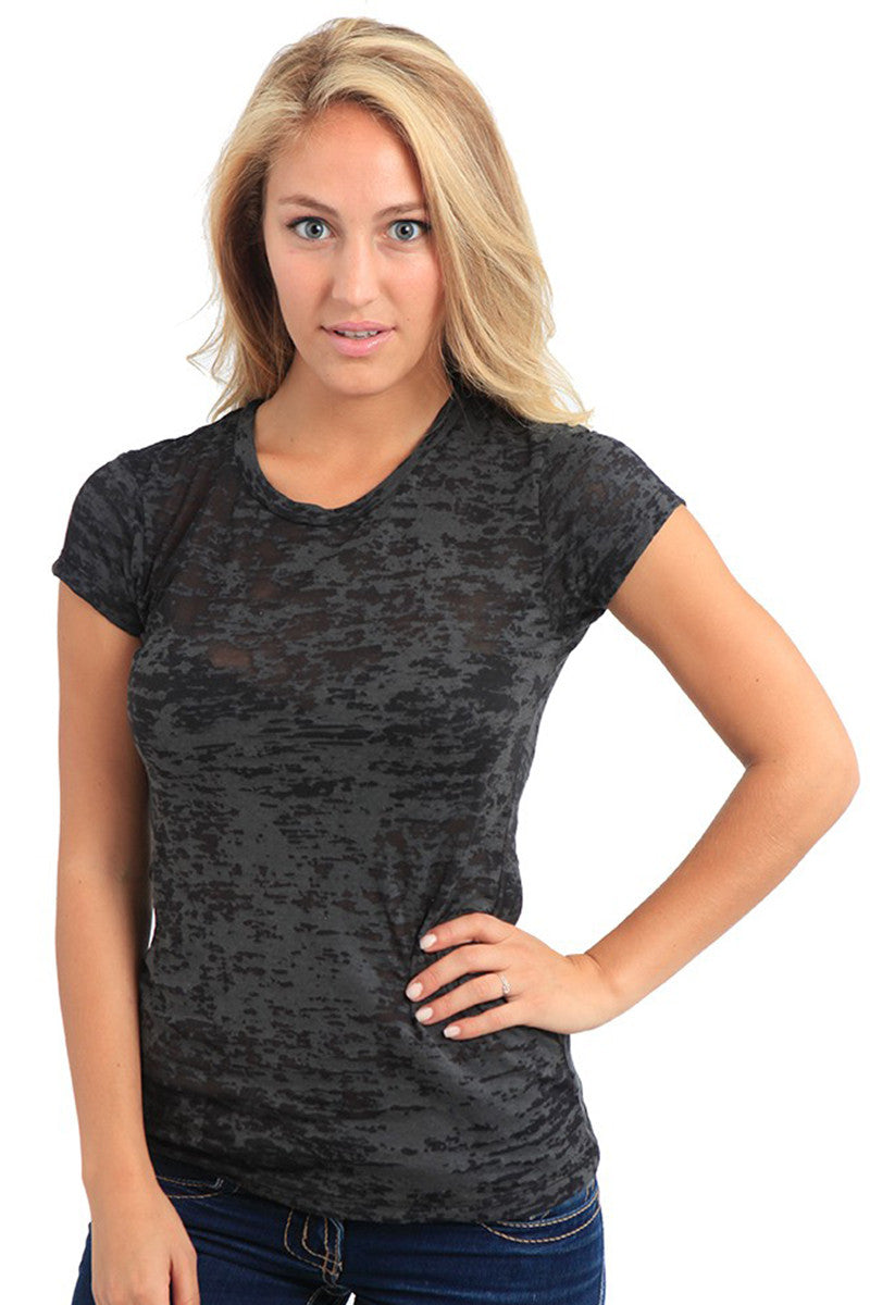 Product Image - Adult BurnOut T-Shirts - Semi-Sheer Poly/Cotton - Black - SKU: AI07-002