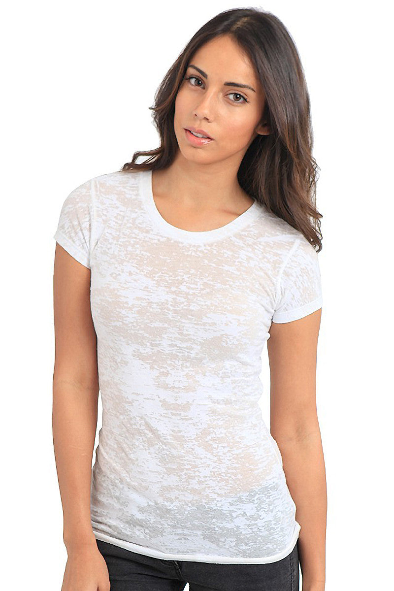 Product Image - Adult BurnOut T-Shirts - Semi-Sheer Poly/Cotton - White - SKU: AI07-002
