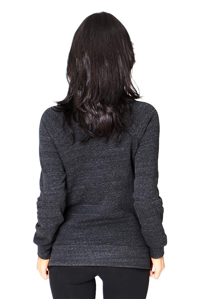 Product Image - Ladies' Off-The-Shoulder Fleece Top - Back / TriBlend Charcoal - SKU: AI08-001 - Will Barger