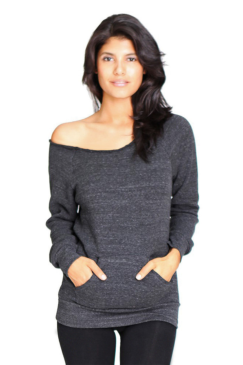 Product Image - Ladies' Off-The-Shoulder Fleece Top - TriBlend Charcoal - SKU: AI08-001 - Will Barger
