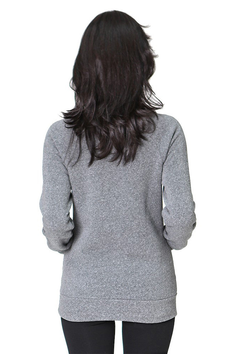 Product Image - Ladies' Off-The-Shoulder Fleece Top - Back / TriBlend Grey - SKU: AI08-001 - Will Barger