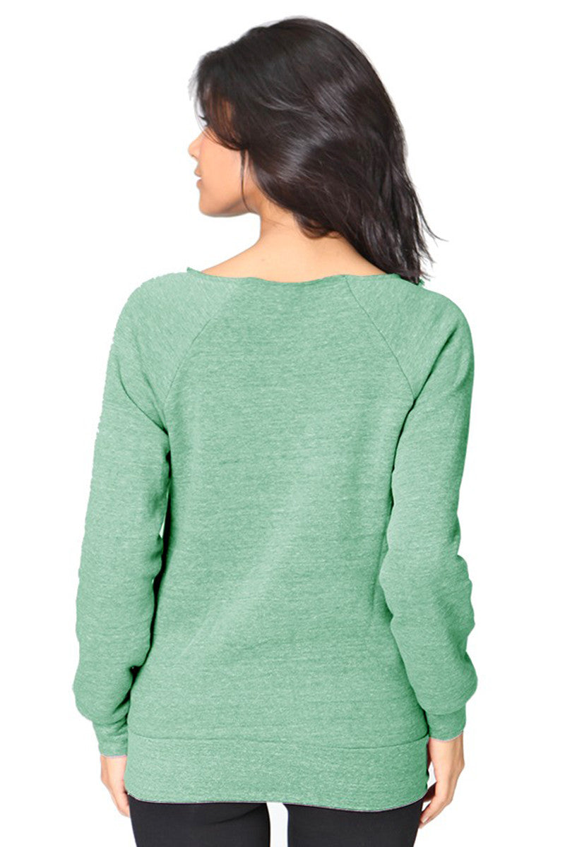 Product Image - Ladies' Off-The-Shoulder Fleece Top - Back / TriBlend Kelly Green - SKU: AI08-001 - Will Barger