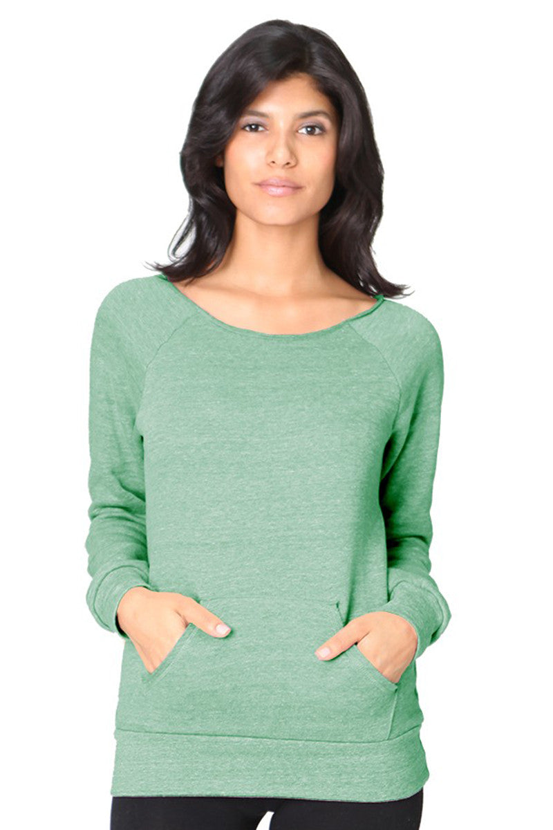 Product Image - Ladies' Off-The-Shoulder Fleece Top - TriBlend Kelly Green - SKU: AI08-001 - Will Barger