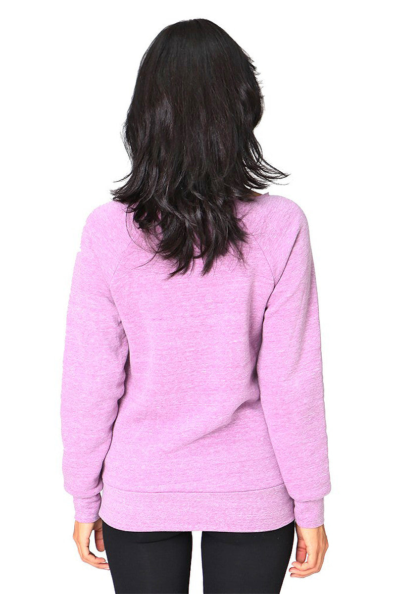 Product Image - Ladies' Off-The-Shoulder Fleece Top - Back / TriBlend Purple - SKU: AI08-001 - Will Barger