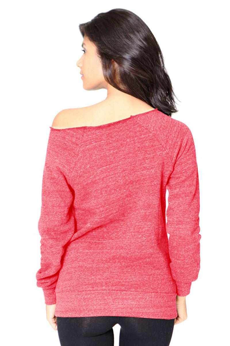 Product Image - Ladies' Off-The-Shoulder Fleece Top - Back / TriBlend Red - SKU: AI08-001 - Will Barger
