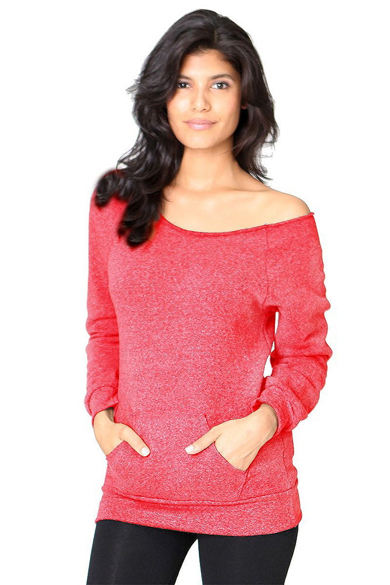 Product Image - Ladies' Off-The-Shoulder Fleece Top - TriBlend Red - SKU: AI08-001 - Will Barger