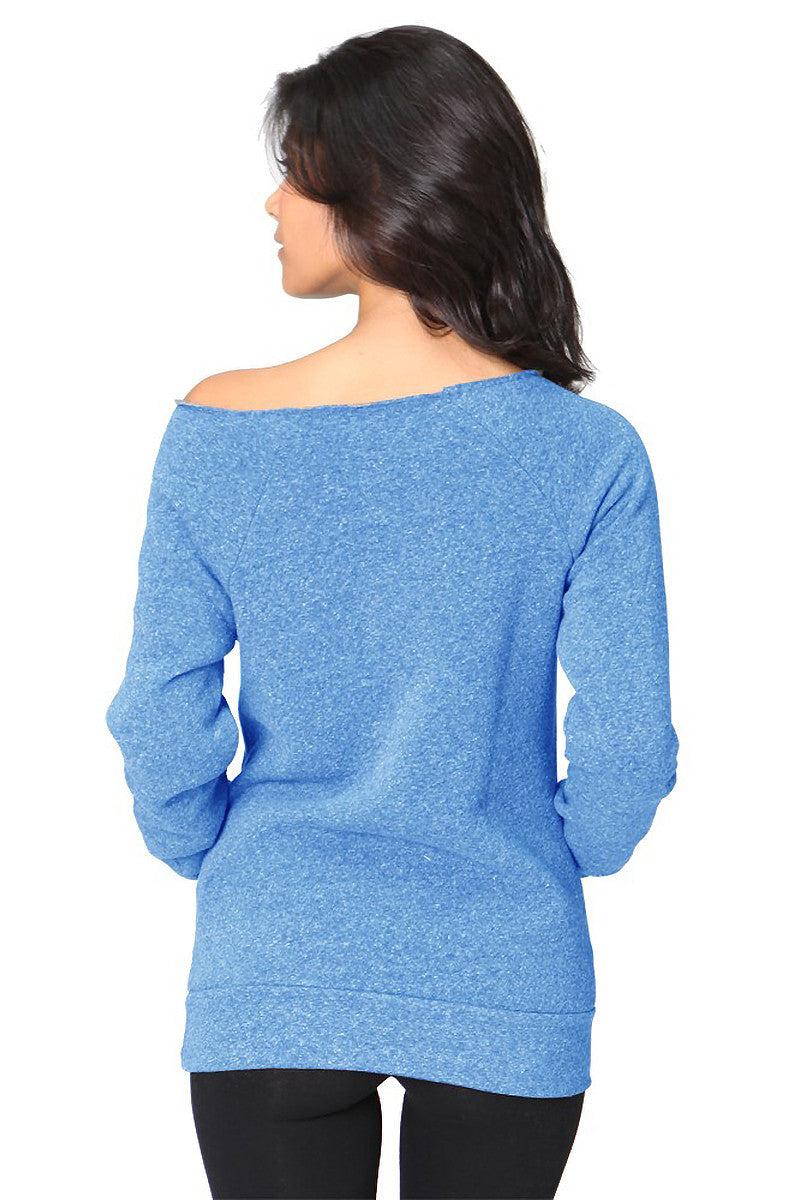 Product Image - Ladies' Off-The-Shoulder Fleece Top - TriBlend Royal Blue - SKU: AI08-001 - Will Barger