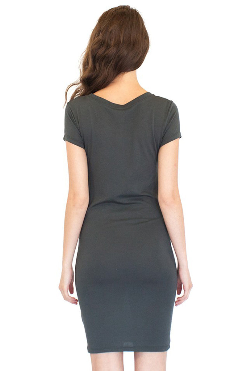 Product Image - Ladies' T-Shirt Dress - Bamboo & Organic Cotton - Back View / Pewter Grey - SKU: AI07-004