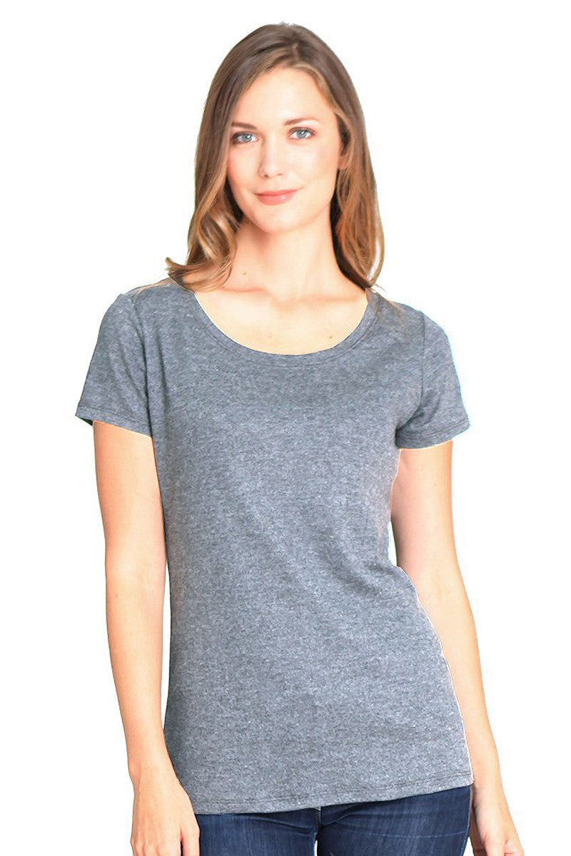 Product Image - Ladies' Scoop Neck T-Shirt - Bamboo & Organic Cotton - Cloudburst Grey Blend - SKU: AI07-003
