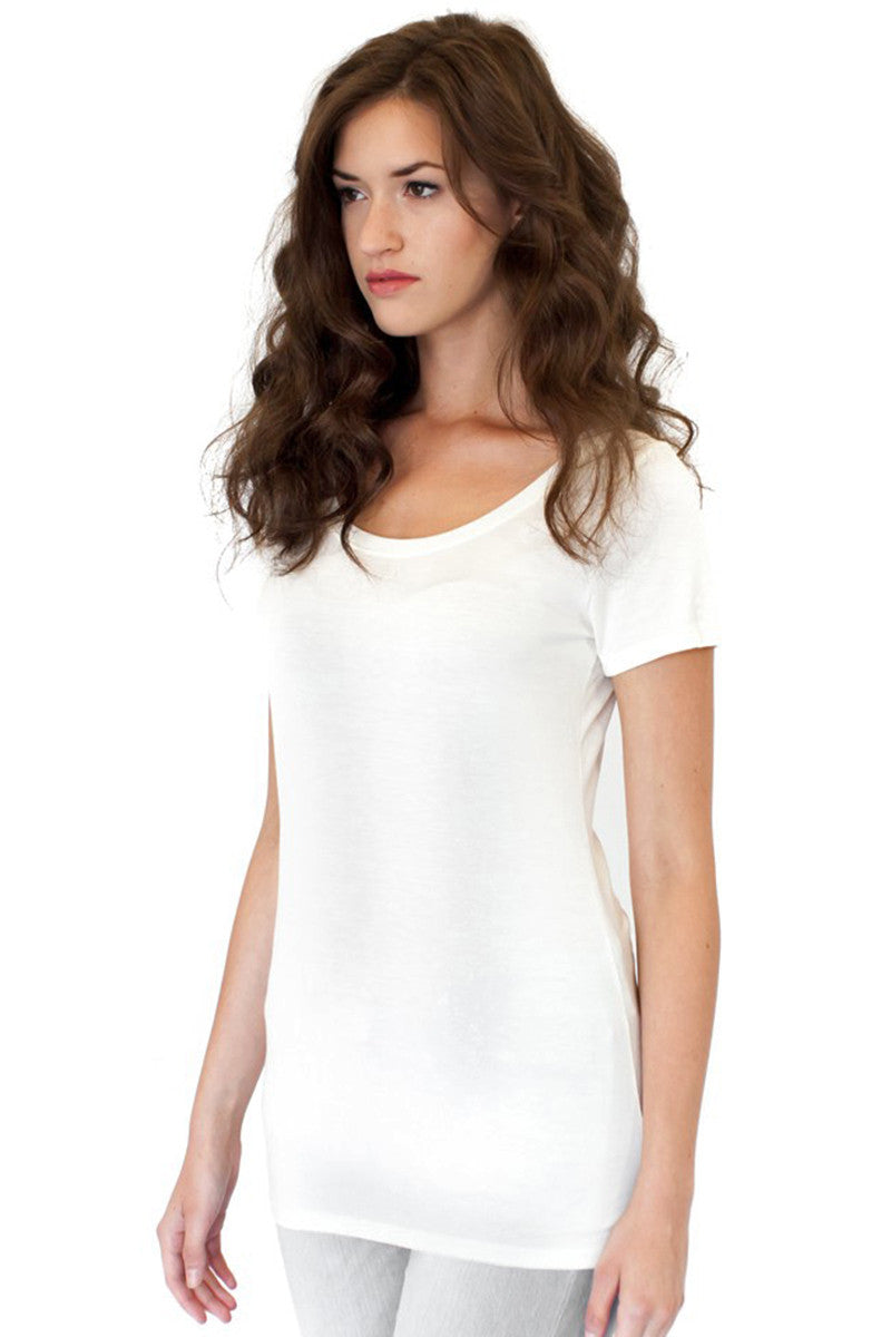 Product Image - Ladies' Scoop Neck T-Shirt - Bamboo & Organic Cotton - Frost White - SKU: AI07-003