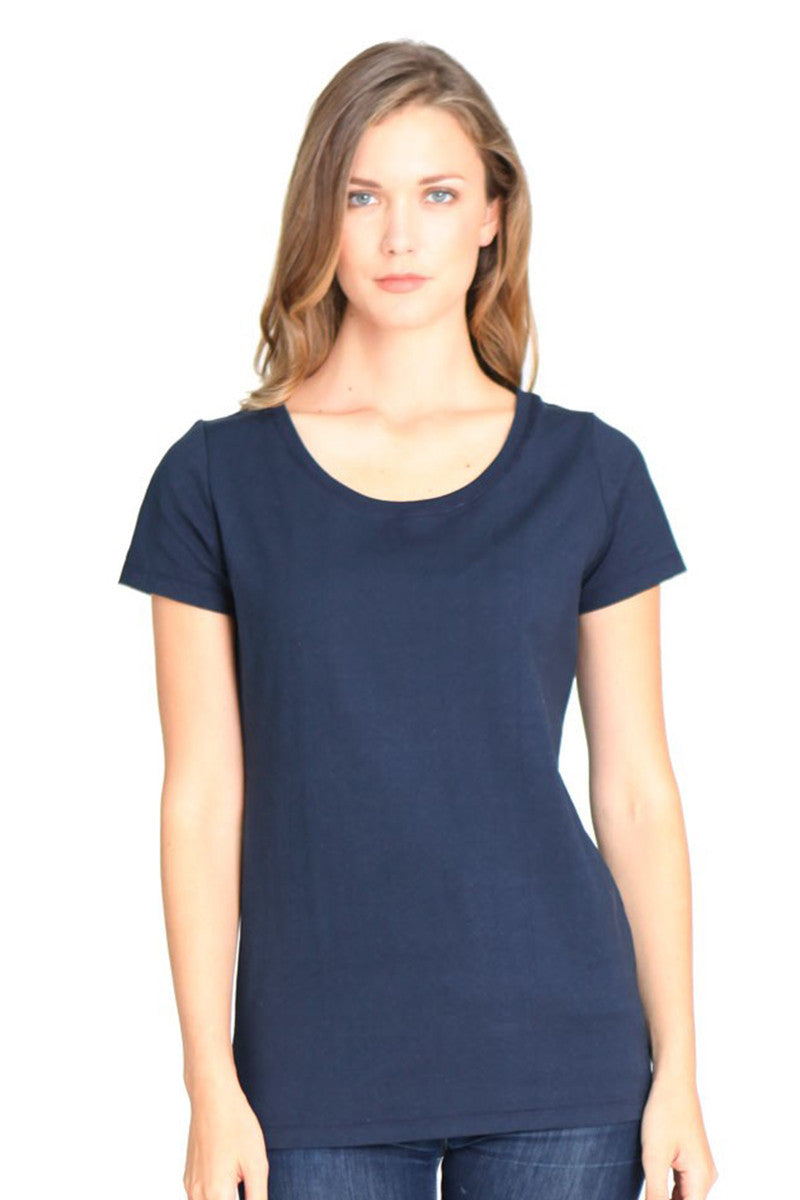 Product Image - Ladies' Scoop Neck T-Shirt - Bamboo & Organic Cotton - Midnight Blue - SKU: AI07-003