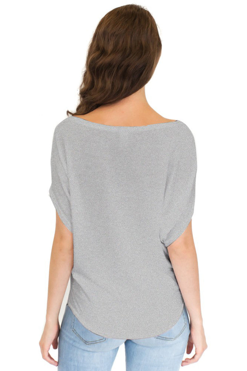 Product Image - Ladies' Poncho Top - Bamboo & Organic Cotton - Back / Cloudburst Grey Blend - SKU: AI07-005
