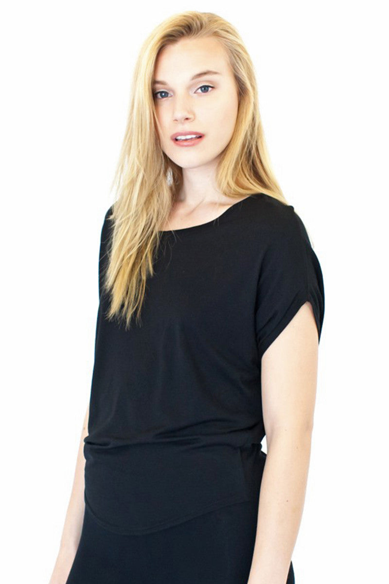 Product Image - Ladies' Poncho Top - Bamboo & Organic Cotton - Eclipse Black - SKU: AI07-005