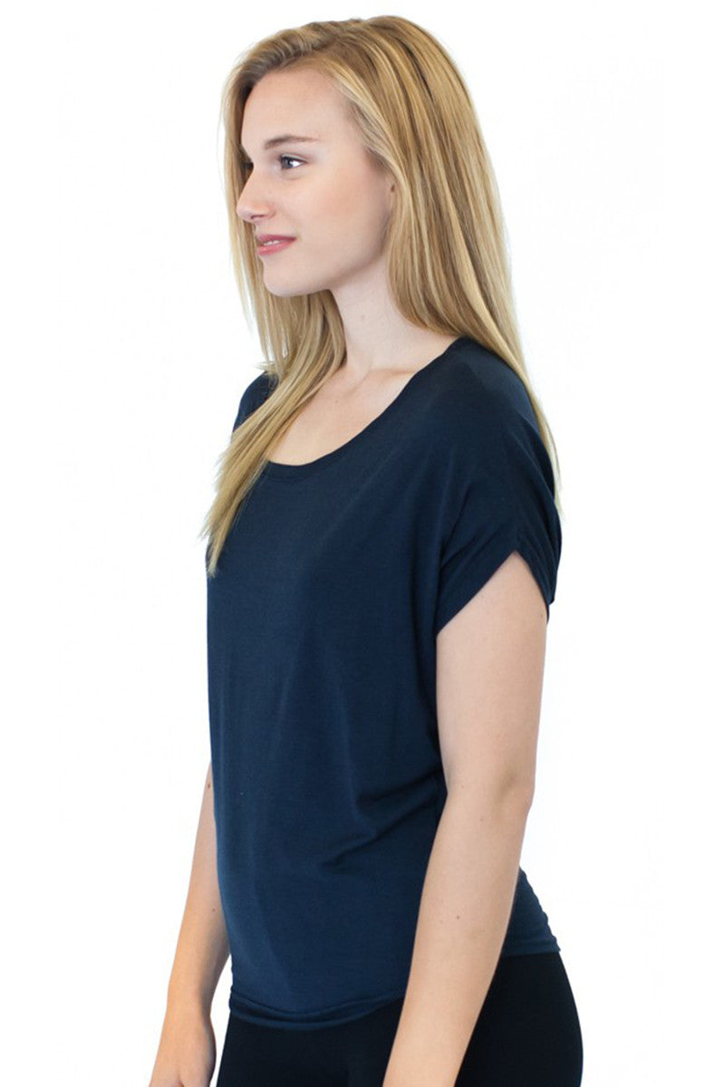 Product Image - Ladies' Poncho Top - Bamboo & Organic Cotton - Midnight Blue - SKU: AI07-005