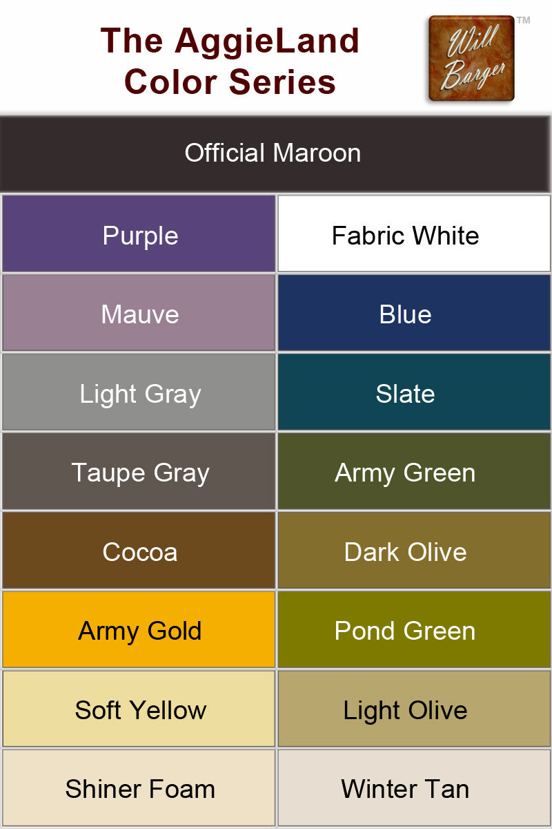 WBA AggieLand Series - Color Reference Table