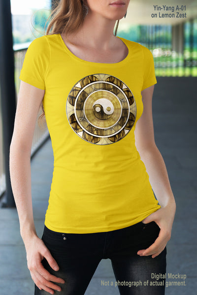 Women's Sheer Scoop Neck T - Yin-Yang A-01 - Lemon Zest - AF06-001