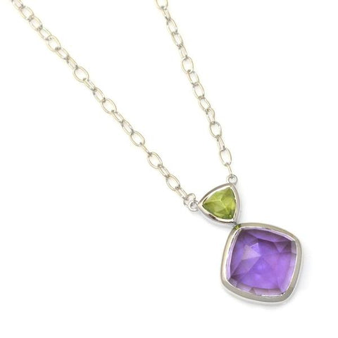 Peridot Necklace with amethyst