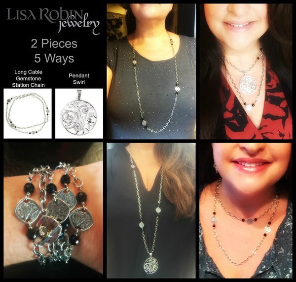 2 peices of Lisa Robin jewelry worn 5 ways