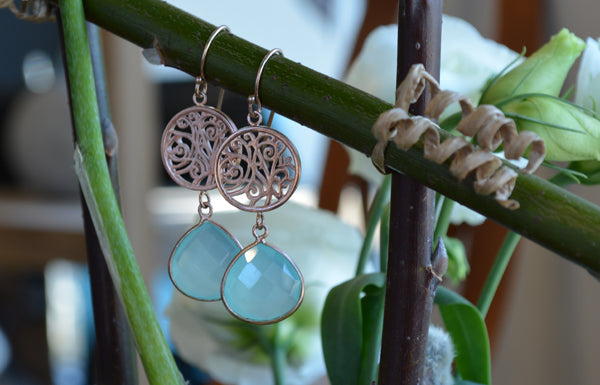 Sterling Silver and Aqua Chal;cedony Earrings | Lisa Robin Jewelry