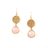 Earrings in Rose Gold and Pink Chalcedony Lisa Robin Jewelry