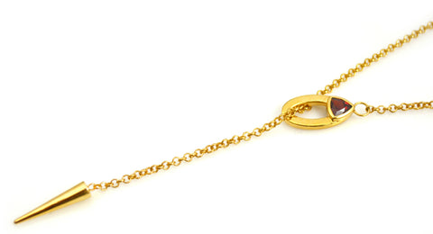 Gold Plated Lariat Necklace Trillion Garnet