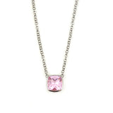 Sterling Silver Cushion Necklace Pink Quartz